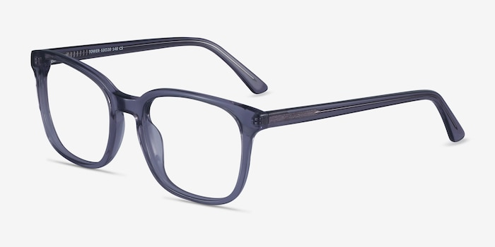 Tower Gray Acetate Eyeglass Frames from EyeBuyDirect, Angle View