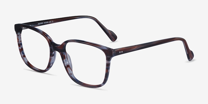 Joanne Striped Acetate Eyeglass Frames from EyeBuyDirect, Angle View