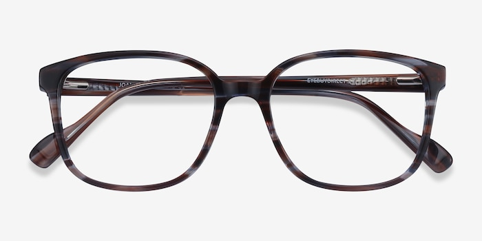 Joanne Striped Acetate Eyeglass Frames from EyeBuyDirect, Closed View