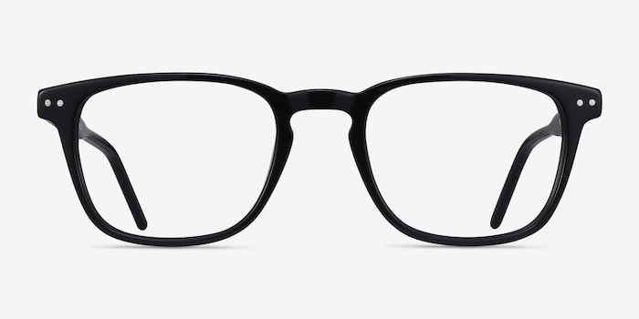 Illustrate Black Acetate Eyeglass Frames from EyeBuyDirect, Front View