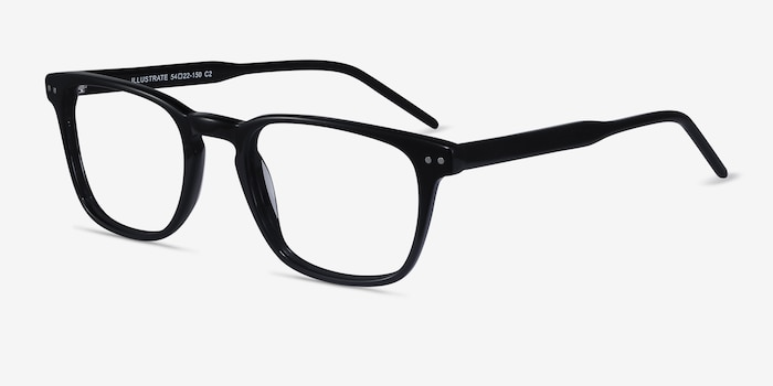 Illustrate Black Acetate Eyeglass Frames from EyeBuyDirect, Angle View