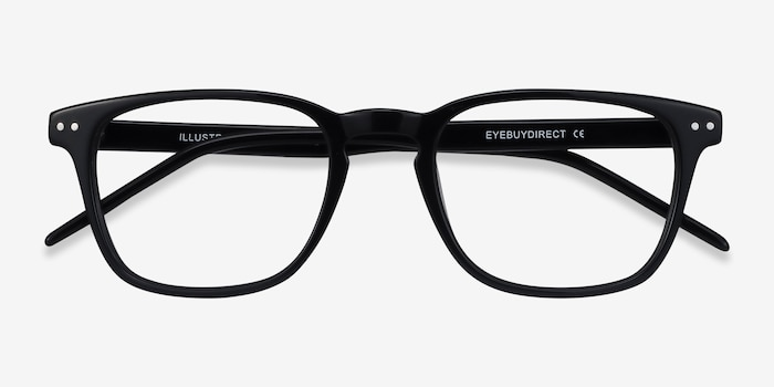 Illustrate Black Acetate Eyeglass Frames from EyeBuyDirect, Closed View