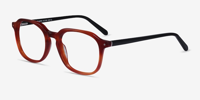 Atlantic Orange Acetate Eyeglass Frames from EyeBuyDirect, Angle View