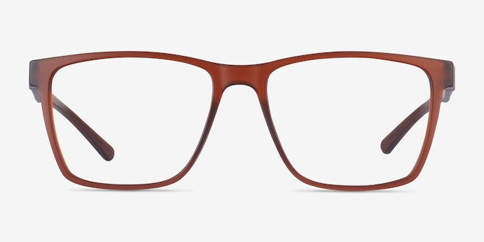 Spencer Brown Plastic Eyeglass Frames from EyeBuyDirect, Front View