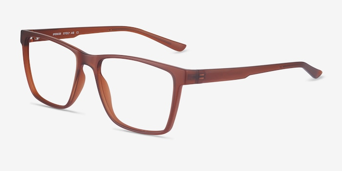 Spencer Brown Plastic Eyeglass Frames from EyeBuyDirect, Angle View