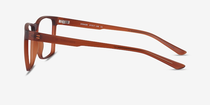 Spencer Brown Plastic Eyeglass Frames from EyeBuyDirect, Side View