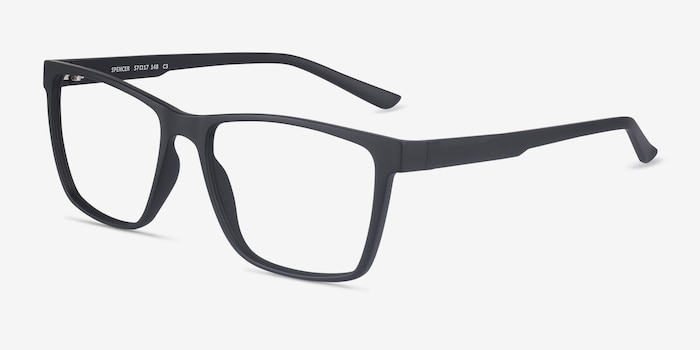 Spencer Black Plastic Eyeglass Frames from EyeBuyDirect, Angle View