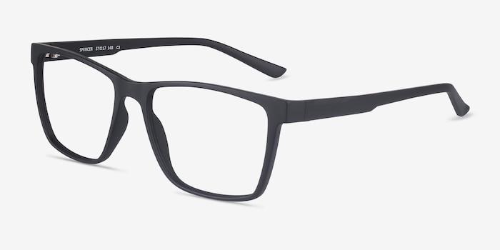 Spencer Noir Plastique Montures de Lunettes d'EyeBuyDirect, Vue d'Angle