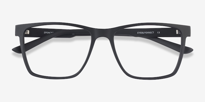 Spencer Black Plastic Eyeglass Frames from EyeBuyDirect, Closed View