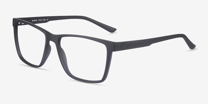 Spencer Gray Plastic Eyeglass Frames from EyeBuyDirect, Angle View
