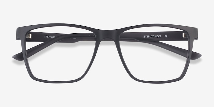 Spencer Gray Plastic Eyeglass Frames from EyeBuyDirect, Closed View