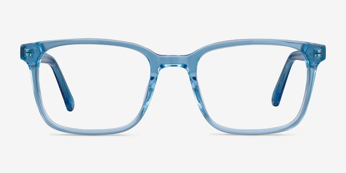 Charlie Blue Acetate Eyeglass Frames from EyeBuyDirect, Front View