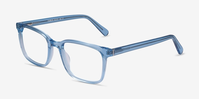 Charlie Blue Acetate Eyeglass Frames from EyeBuyDirect, Angle View