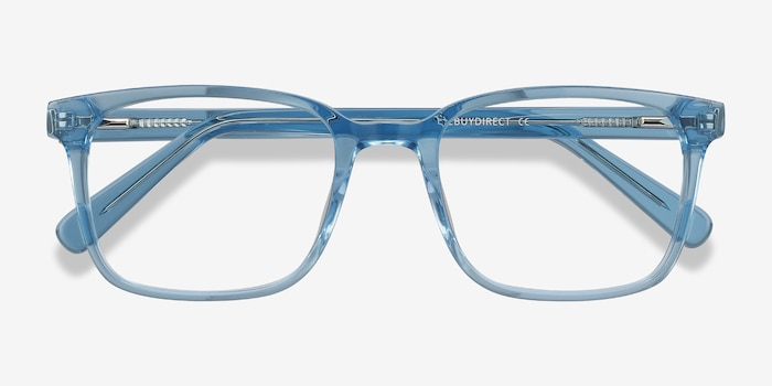 Charlie Blue Acetate Eyeglass Frames from EyeBuyDirect, Closed View