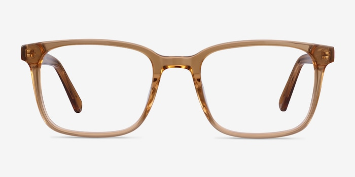 Charlie Clear Brown Acetate Eyeglass Frames from EyeBuyDirect, Front View