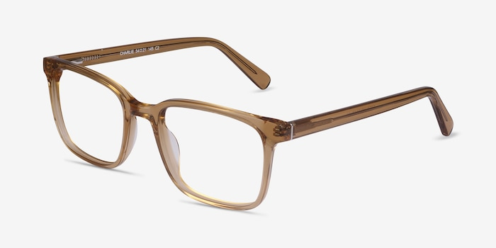 Charlie Clear Brown Acetate Eyeglass Frames from EyeBuyDirect, Angle View