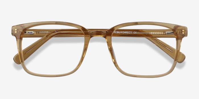 Charlie Clear Brown Acetate Eyeglass Frames from EyeBuyDirect, Closed View