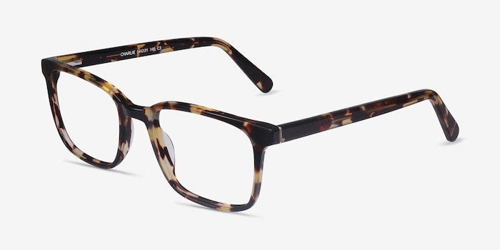 Charlie Tortoise Acetate Eyeglass Frames from EyeBuyDirect, Angle View