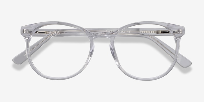 Dulce Clear Acetate Eyeglass Frames from EyeBuyDirect, Closed View