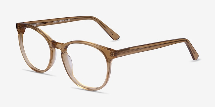 Dulce Yellow Acetate Eyeglass Frames from EyeBuyDirect, Angle View