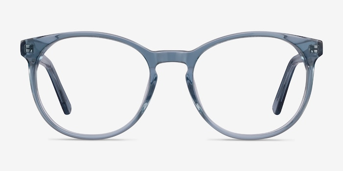 Dulce Blue Acetate Eyeglass Frames from EyeBuyDirect, Front View