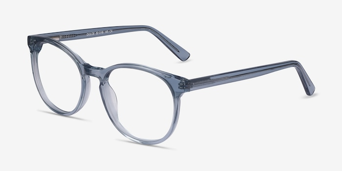 Dulce Blue Acetate Eyeglass Frames from EyeBuyDirect, Angle View
