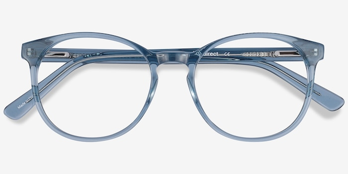 Dulce Blue Acetate Eyeglass Frames from EyeBuyDirect, Closed View