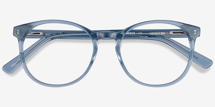 Dulce Bleu Acétate Montures de Lunette de vue d'EyeBuyDirect, Vue Rapprochée