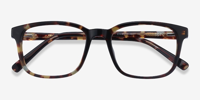 Longway Tortoise Acetate Eyeglass Frames from EyeBuyDirect, Closed View