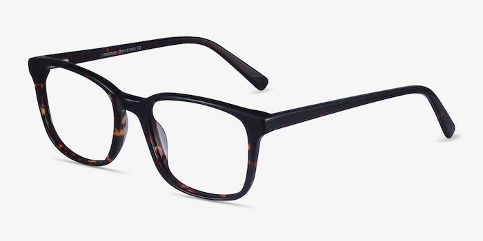 Longway Dark Tortoise Acetate Eyeglass Frames from EyeBuyDirect, Angle View