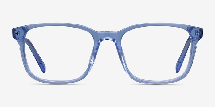 Longway Blue Acetate Eyeglass Frames from EyeBuyDirect, Front View