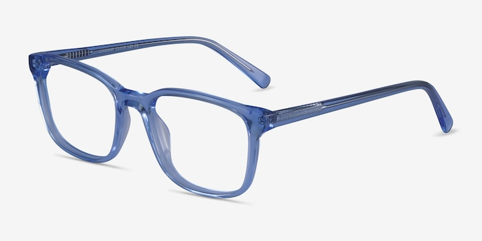 Longway Blue Acetate Eyeglass Frames from EyeBuyDirect, Angle View