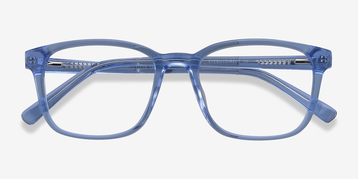 Longway Blue Acetate Eyeglass Frames from EyeBuyDirect, Closed View