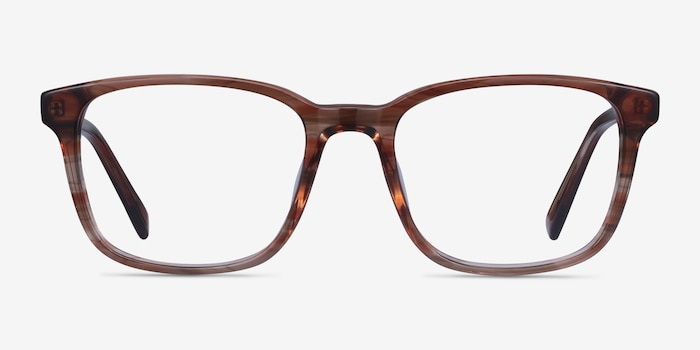 Longway Brown Striped Acetate Eyeglass Frames from EyeBuyDirect, Front View