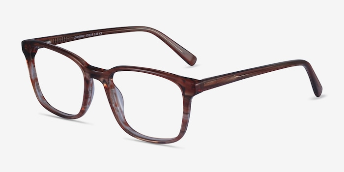 Longway Brown Striped Acetate Eyeglass Frames from EyeBuyDirect, Angle View