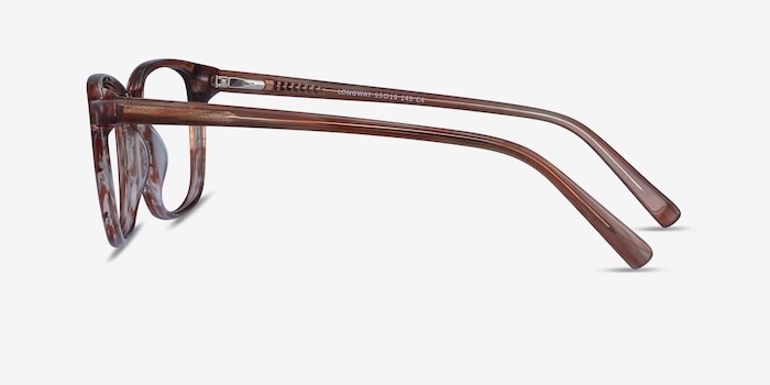 Longway Brown Striped Acetate Eyeglass Frames from EyeBuyDirect, Side View