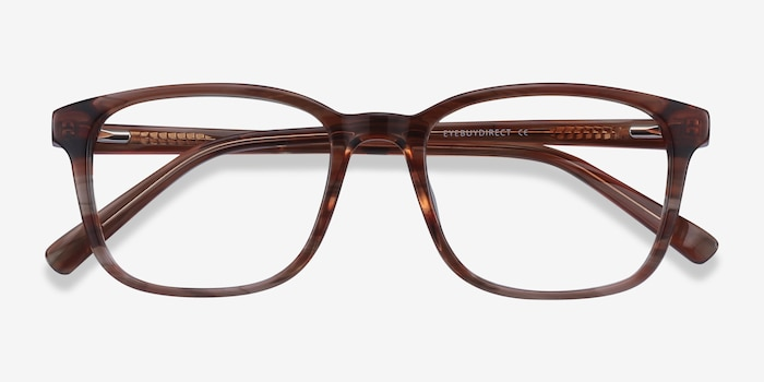 Longway Brown Striped Acetate Eyeglass Frames from EyeBuyDirect, Closed View
