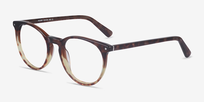 Fleury Brown Floral Acetate Eyeglass Frames from EyeBuyDirect, Angle View