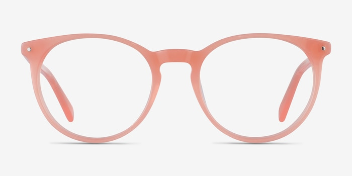 Fleury Pink Orange Acetate Eyeglass Frames from EyeBuyDirect, Front View