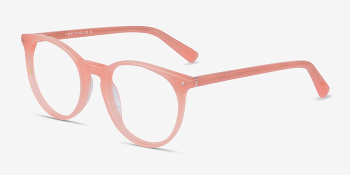 Fleury Pink Orange Acetate Eyeglass Frames from EyeBuyDirect, Angle View