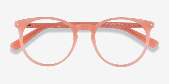 Fleury Pink Orange Acetate Eyeglass Frames from EyeBuyDirect, Closed View