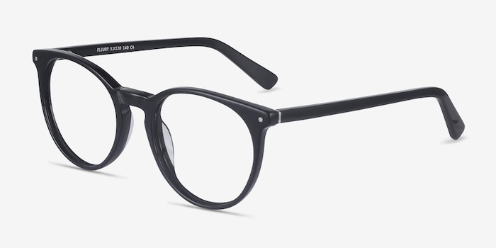 Fleury Black Acetate Eyeglass Frames from EyeBuyDirect, Angle View