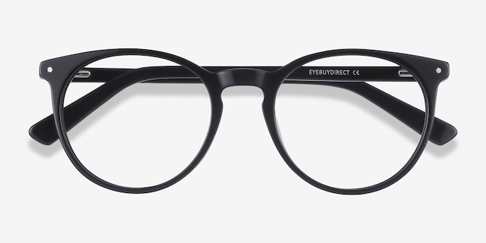 Fleury Noir Acétate Montures de Lunettes d'EyeBuyDirect, Vue Rapprochée