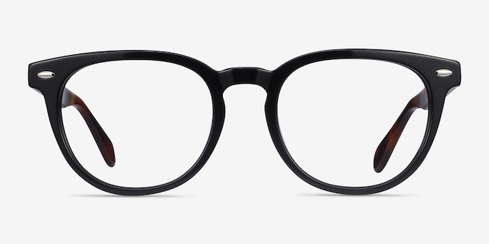 Maeby Black Acetate Eyeglass Frames from EyeBuyDirect, Front View