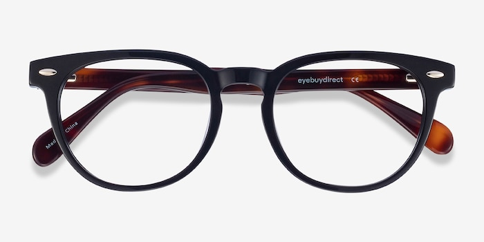 Maeby Black Acetate Eyeglass Frames from EyeBuyDirect, Closed View