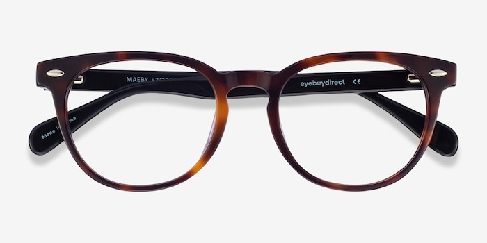 Maeby Dark Tortoise Acetate Eyeglass Frames from EyeBuyDirect, Closed View