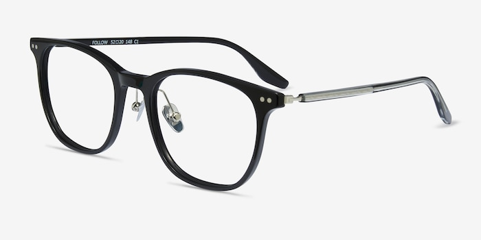 Follow Black Acetate Eyeglass Frames from EyeBuyDirect, Angle View