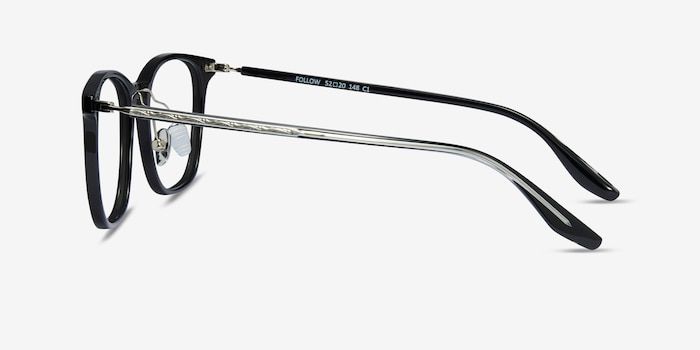 Follow Black Acetate Eyeglass Frames from EyeBuyDirect, Side View