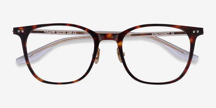 Follow Tortoise Acetate Eyeglass Frames from EyeBuyDirect, Closed View
