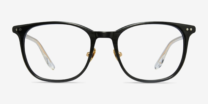 Follow Gray Striped Acetate Eyeglass Frames from EyeBuyDirect, Front View